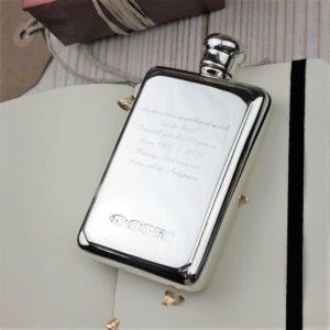 Sterling Silver Rectangular Hip Flask