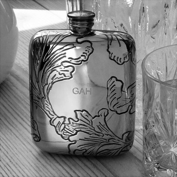 Personalised Bride's Leaf Hip Flask