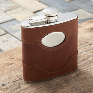 Personalised Spanish Leather Hip Flask
