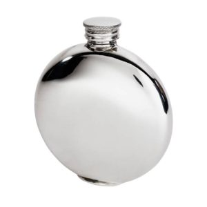 Personalised 4 oz Round Plain Pewter Hip Flask