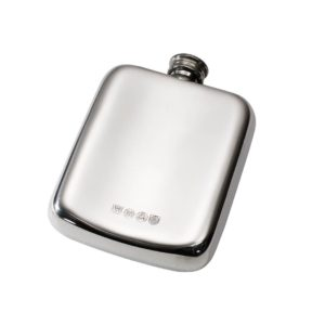 Personalised 4 oz Acanthus Pattern Pewter Pocket Hip Flask