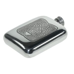 Personalised Celtic Serpent Pewter 4 oz Pocket Hip Flask