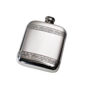 Personalised 4 oz Celtic Bands Pewter Pocket Flask