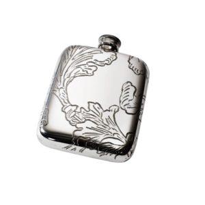 Personalised 4 oz Acanthus Pattern Pewter Pocket Hip Flask