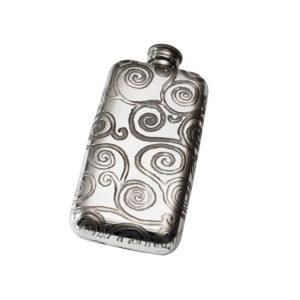 Personalised 3 oz Tree of Life Pewter Pocket Flask