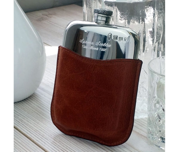 Personalised Leather Hip Flask with Gift Box, Free Engraving and Free Hip Flask Funnel