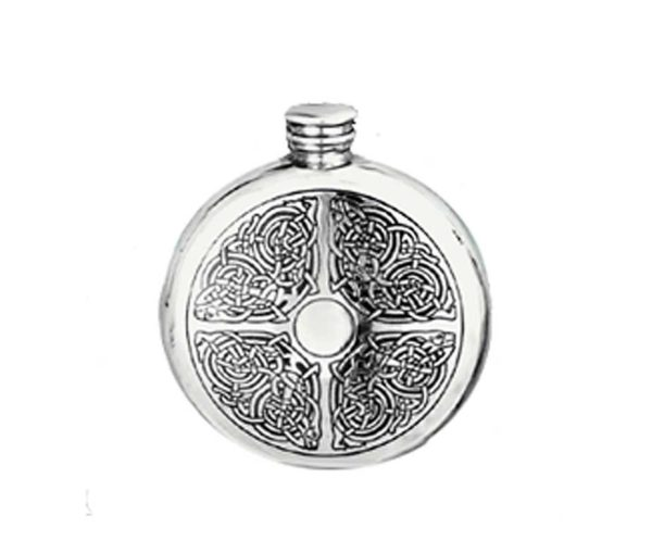 Round Celtic Engraved Hip Flask with Free Engraving