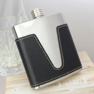 Leather Personalised Hip Flask with presentation box and FREE engraving