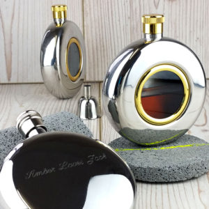 FREE ENGRAVING Round Window Engraved Hip Flask with Presentation Box.