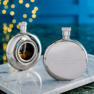 Round Window Hip Flask with Presentation Box, FREE ENGRAVING & Personalisation. Personalised Hip Flask.