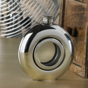 Round Window Engraved Hip Flask with presentation box and FREE Engraving